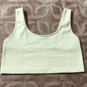 American Eagle beige ribbed cropped top